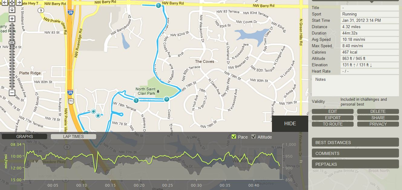 The run-tracker of my run today. I'm trying out using Endomondo to track my runs.