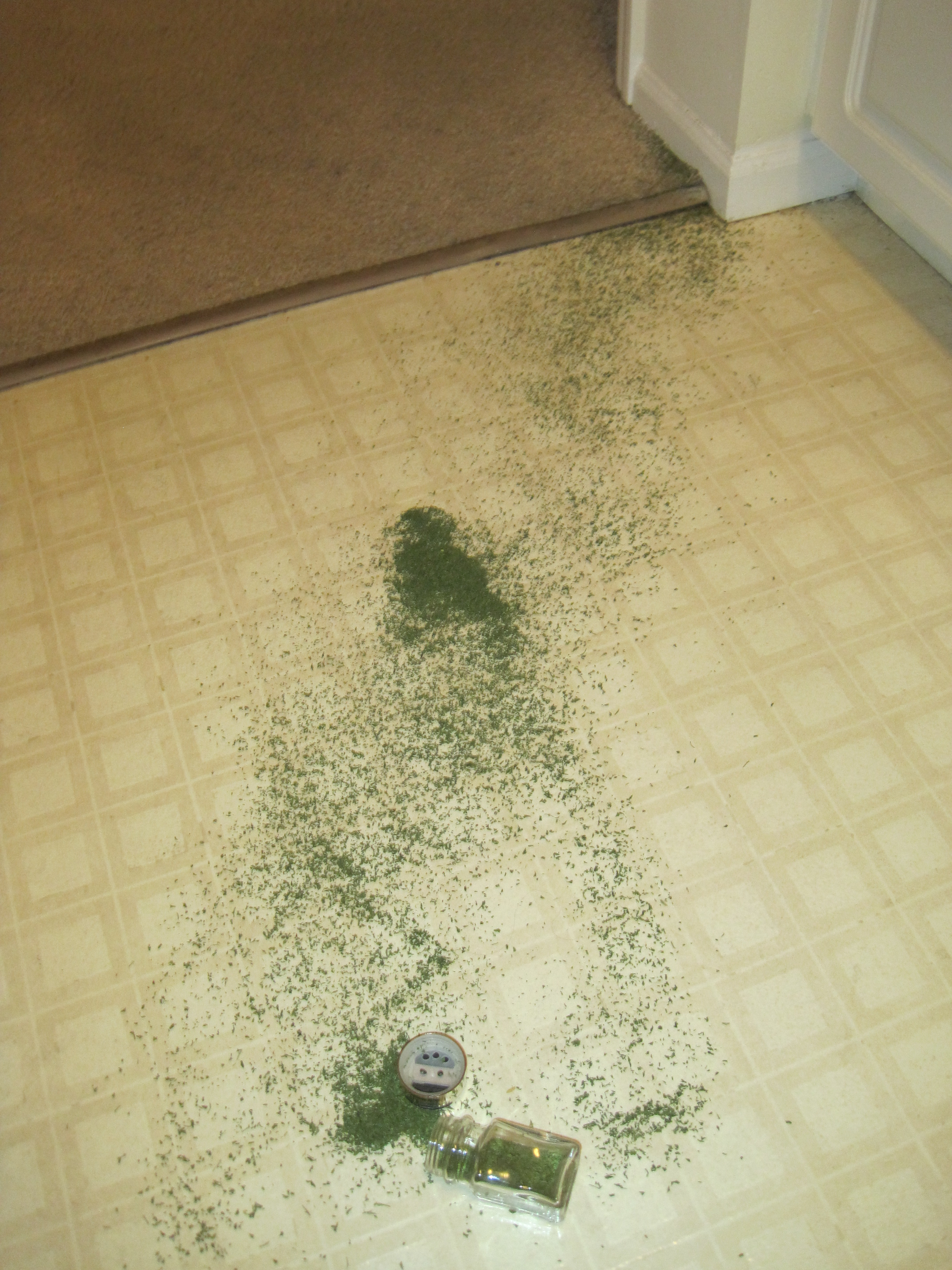 Yup, that's parsley...all over the floor...