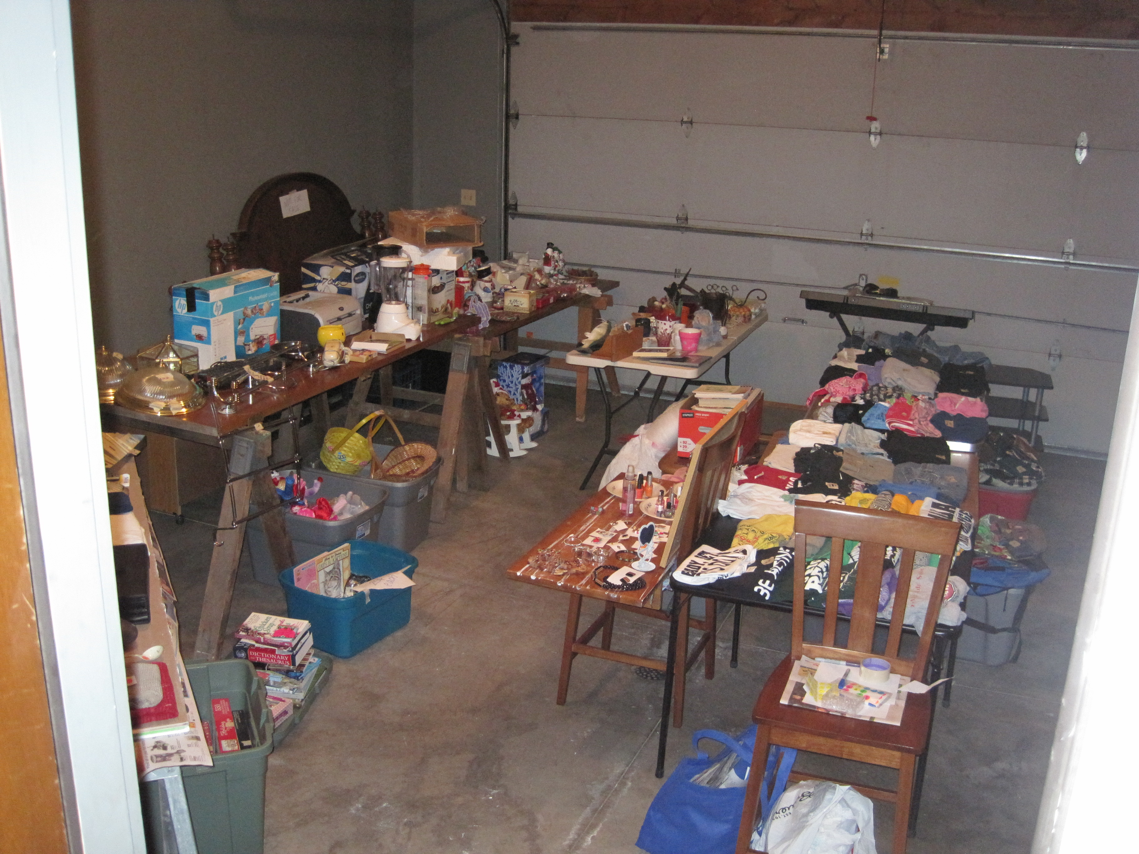 It wasn't this messy by accident---it was garage sale time!