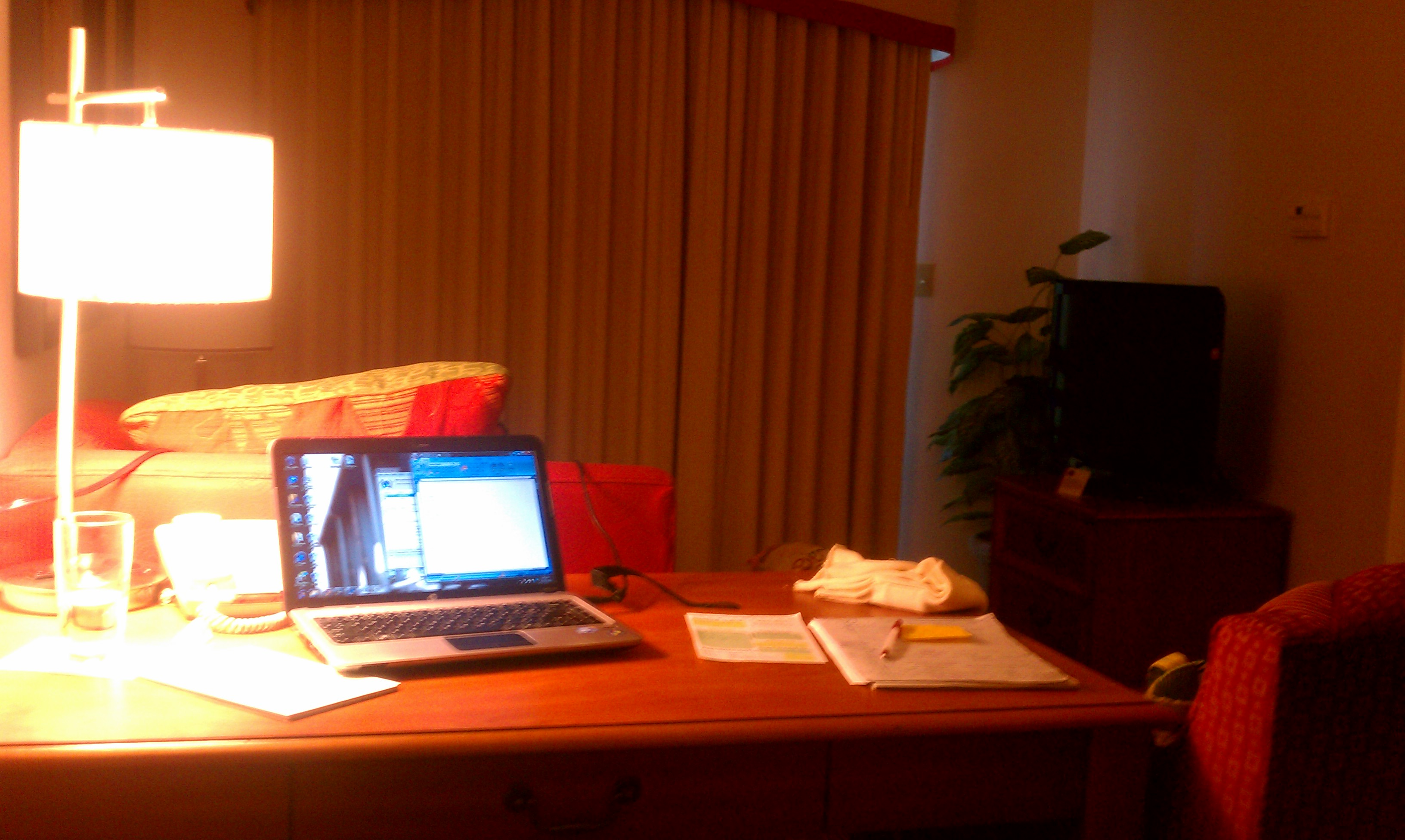 "My little ""office"" in our hotel room for the week. It was as big as our apartment!"