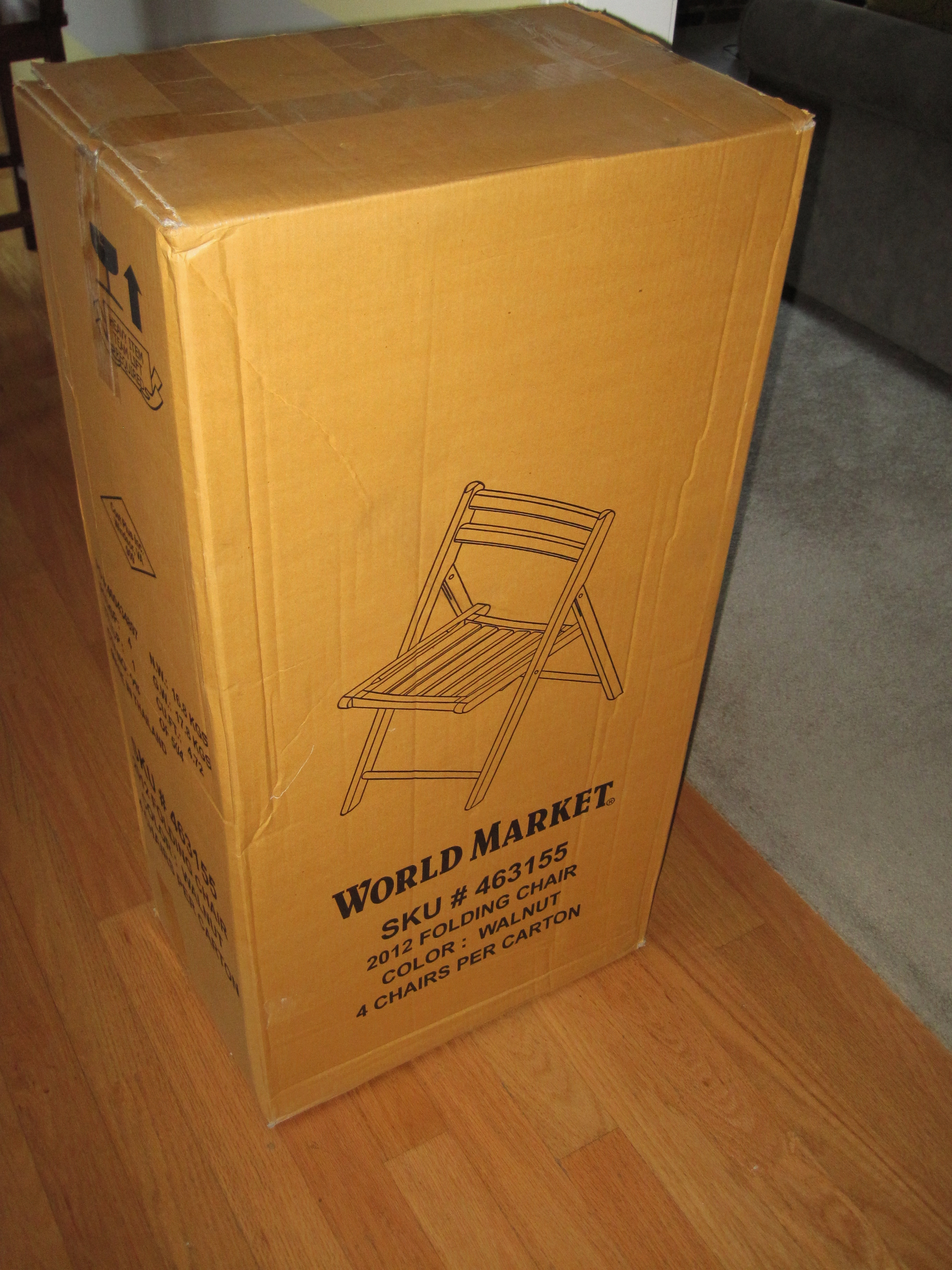 patio folding chair box