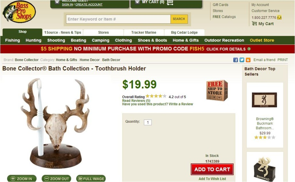 bass pro toothbrush holder