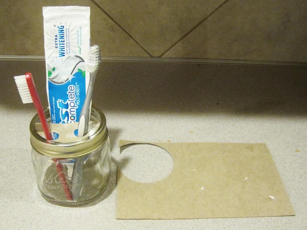 mason jar toothbrush holder  DIY