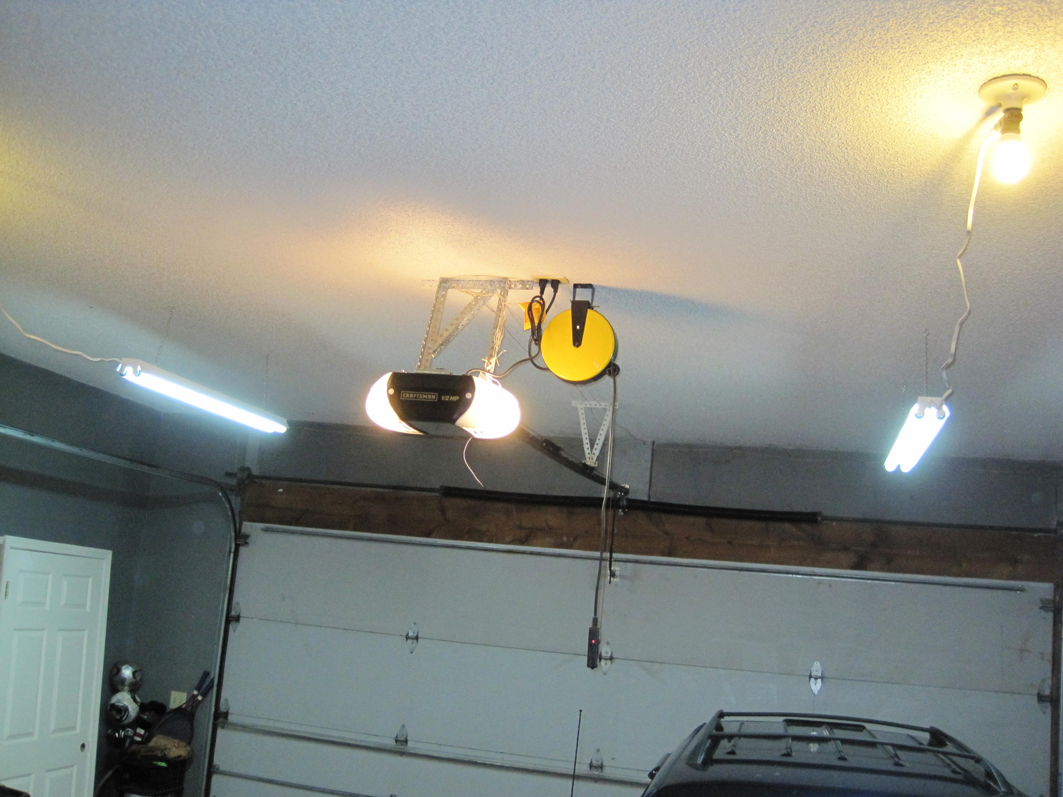 finished garage lights