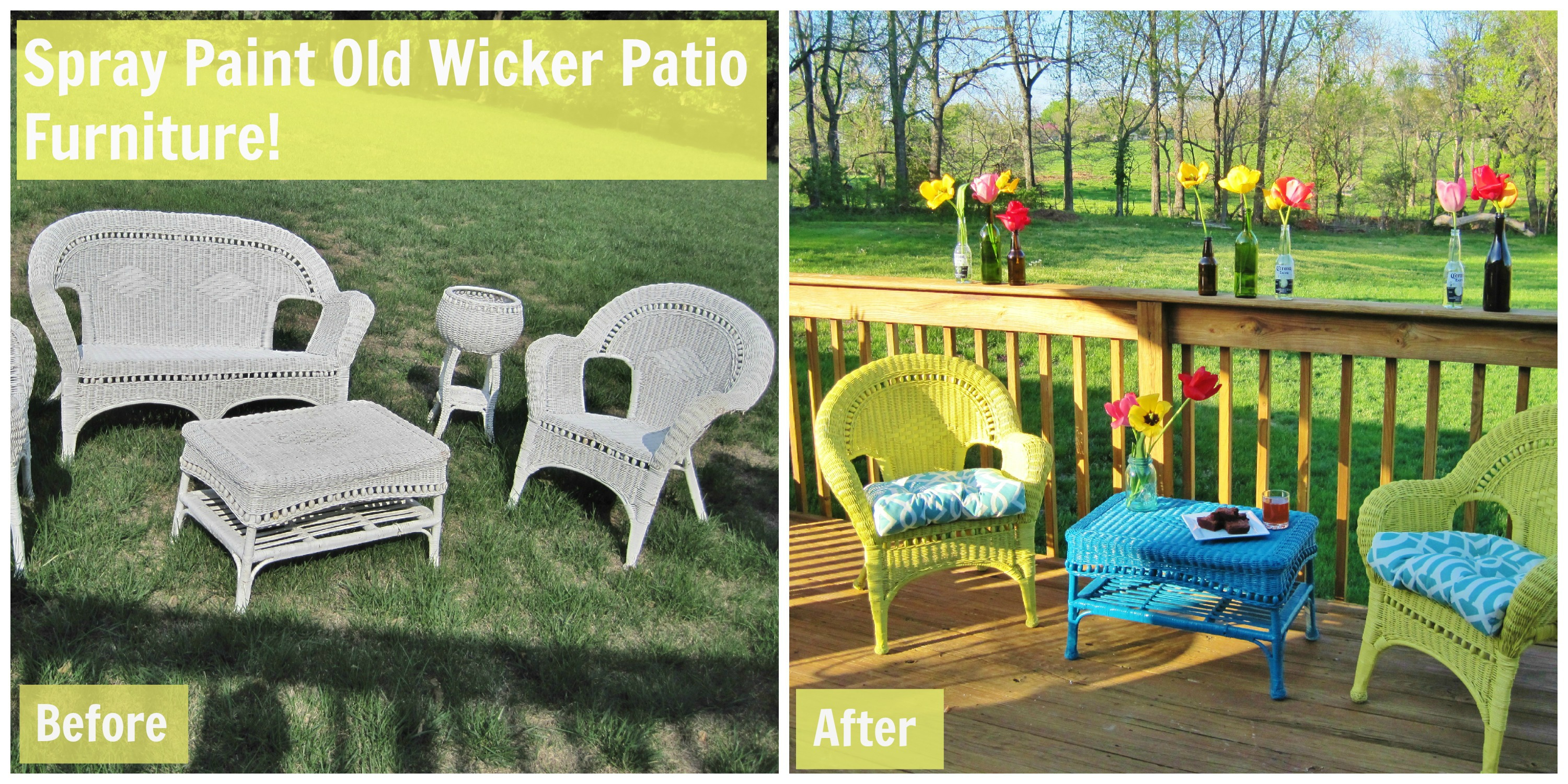 Sprucing up for summer loving here for How to paint rattan patio furniture