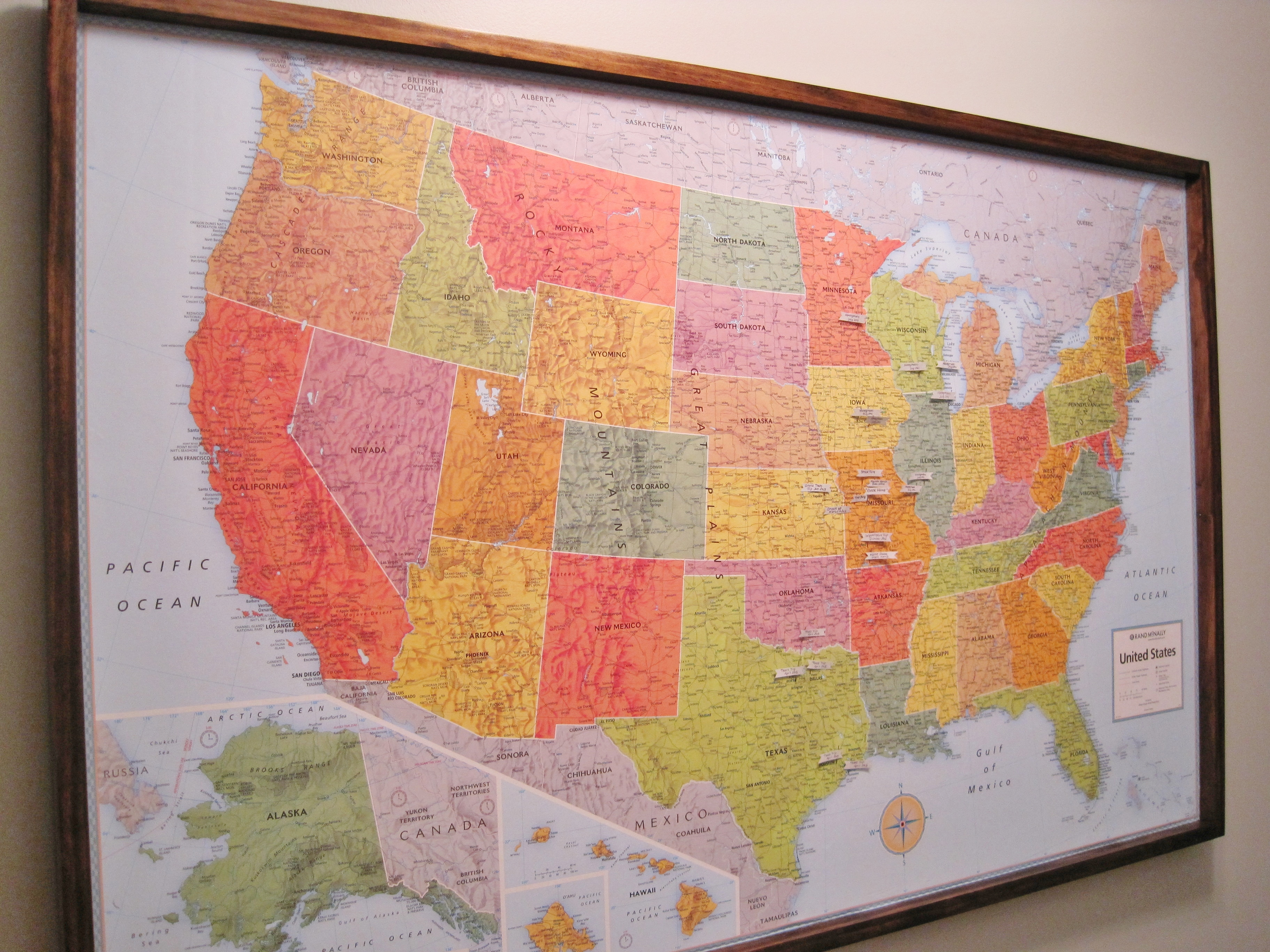 DIY Pinboard Travel Map Part Loving Here - Travel wall map with pins