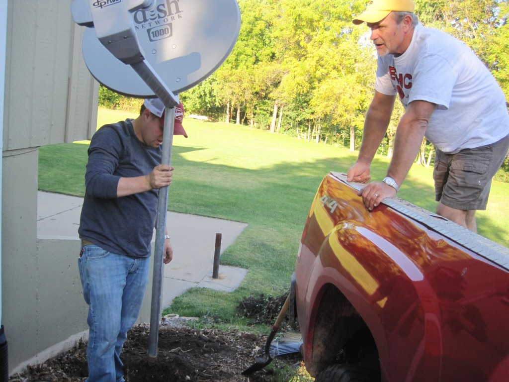 Removing Barberries and Satellite Dish