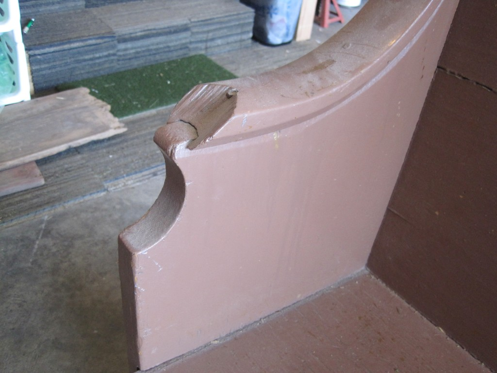 Missing Bottom of Church Pew Arm Rest 2