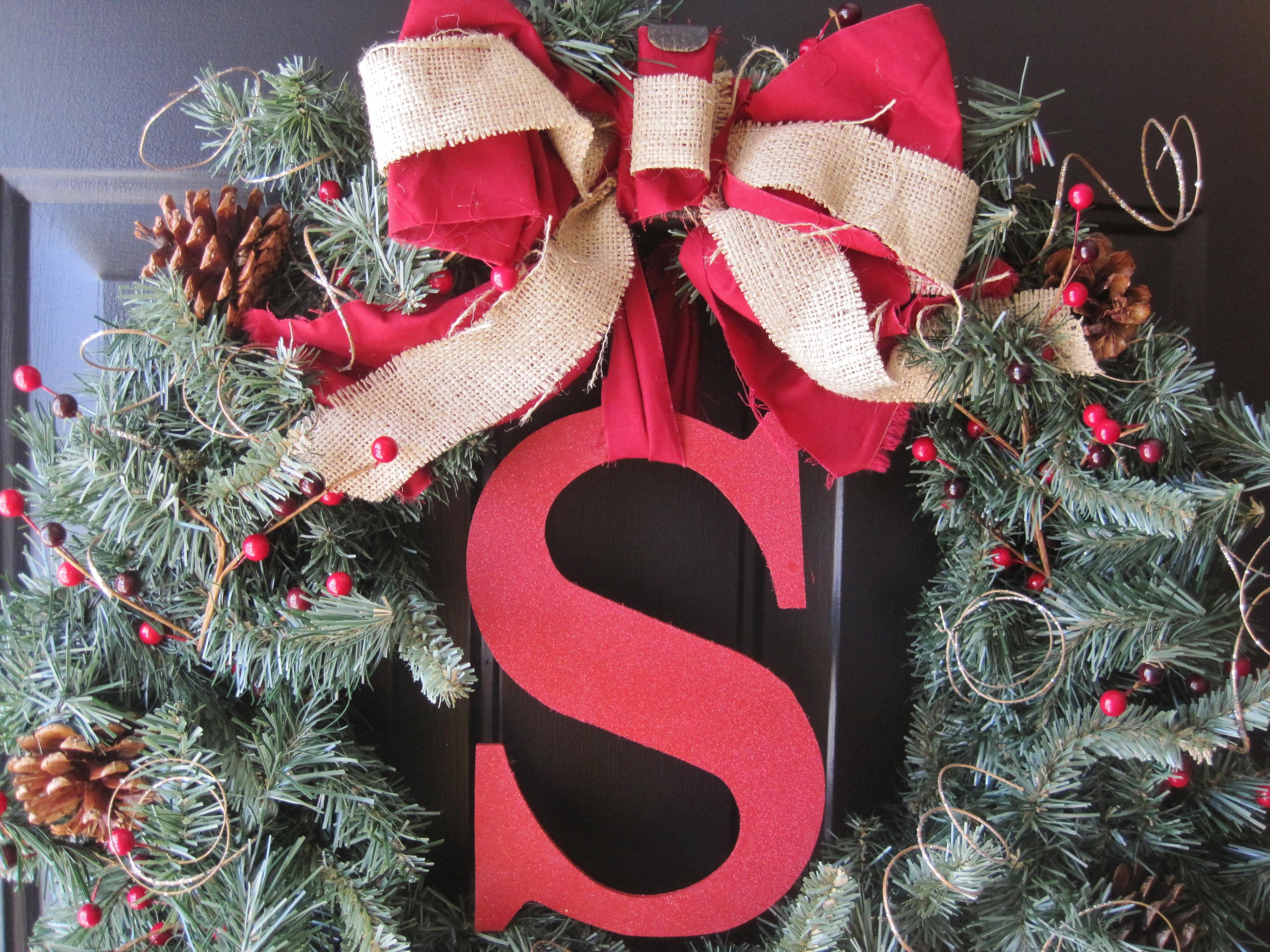The Winning Wreath (EASY DIY Monogram Holiday Wreath) - Loving Here