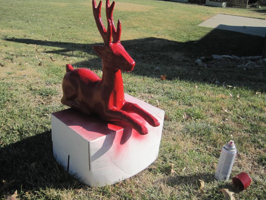 Spray Painting Cardboard Reindeer