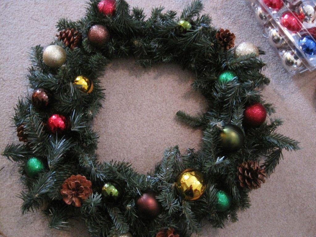 Wreath with Christmas ornaments