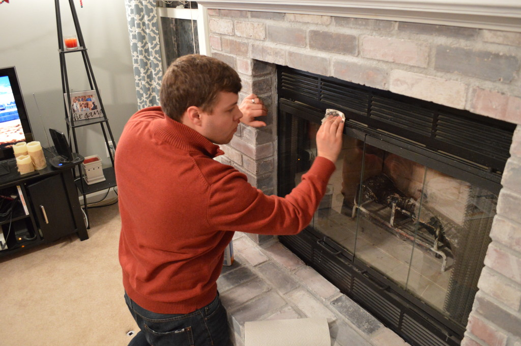 how to whitewash brick fireplace Cleaning whitewash splatters on fireplace