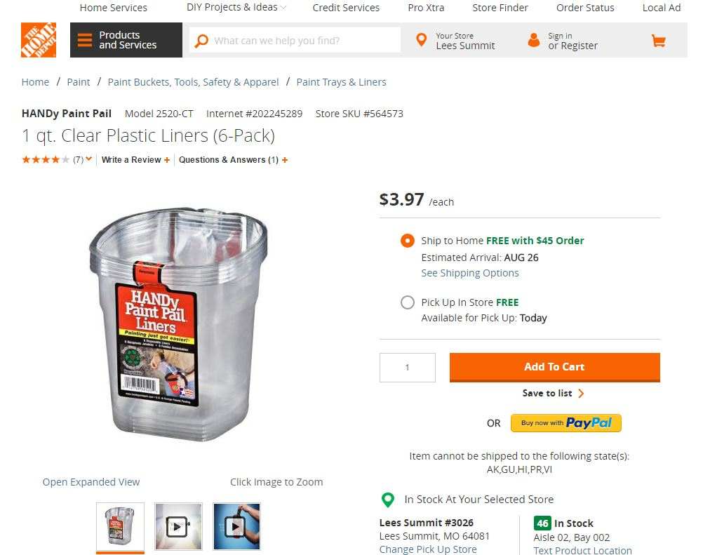 Home Depot Handy Pail Liners