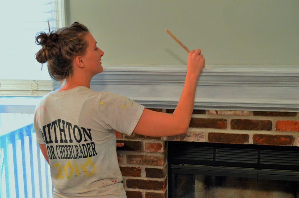 how to whitewash brick fireplace Painting Mantle