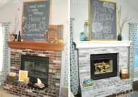 should I whitewash my brick fireplace comparison photo before and after