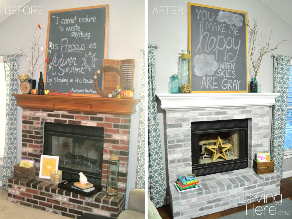 Should I Whitewash My Brick Fireplace Comparison Photo Before And After How To