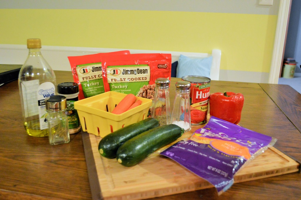 Allergy Free Stuffed Zucchini Boats with Jimmy Dean Sausage Prep 2