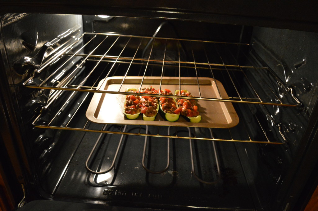 Baking Allergy Free Stuffed Zucchini Boats with Jimmy Dean Sausage