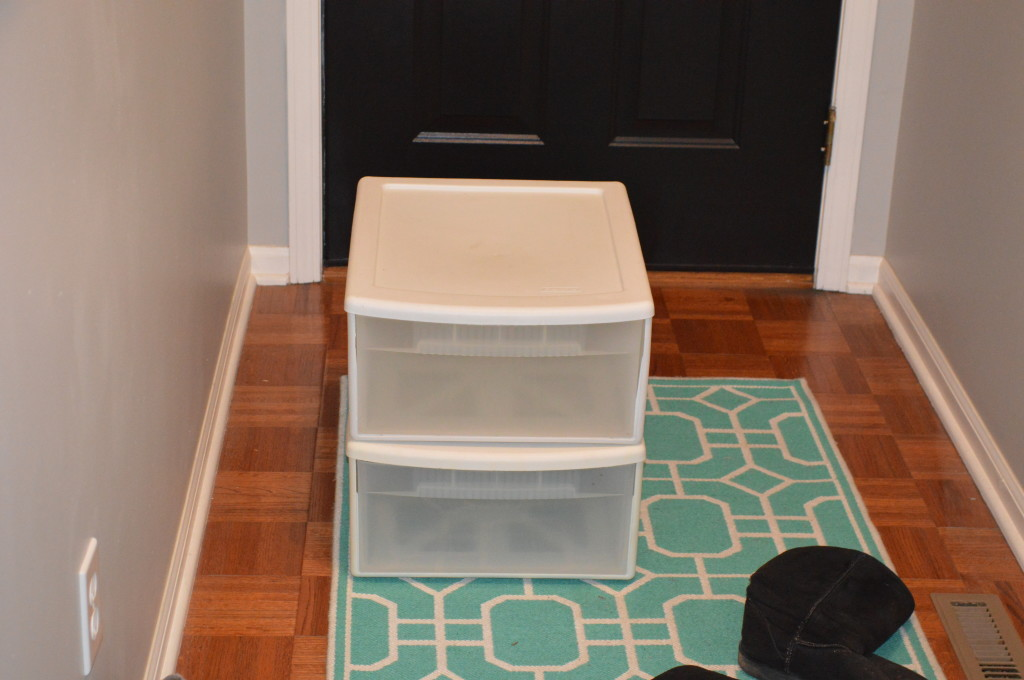 Plastic Drawers in Coat Closet