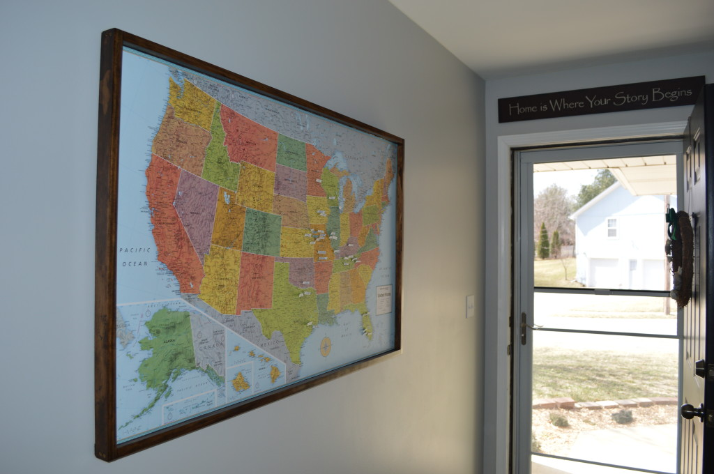 Map Pinboard in entryway