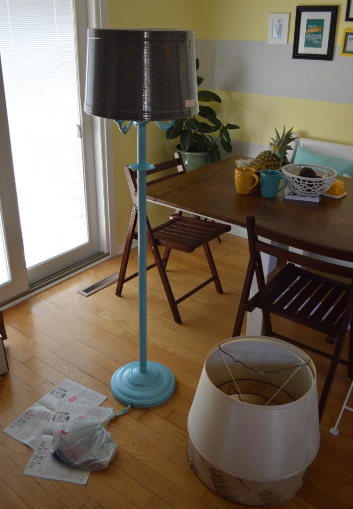 Spray Painted Blue Vintage Floor Lamp Shade Option