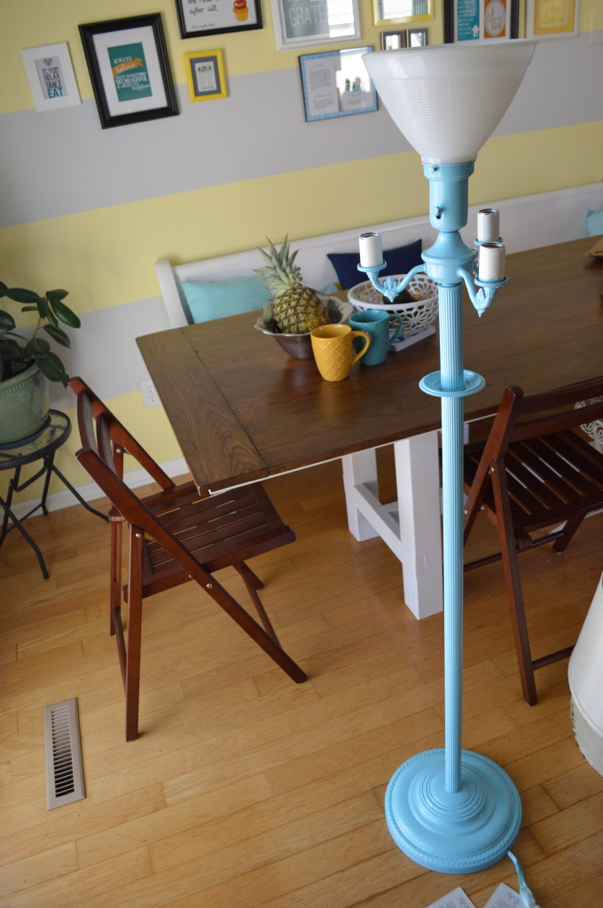 Spray Painted Blue Vintage Floor Lamp