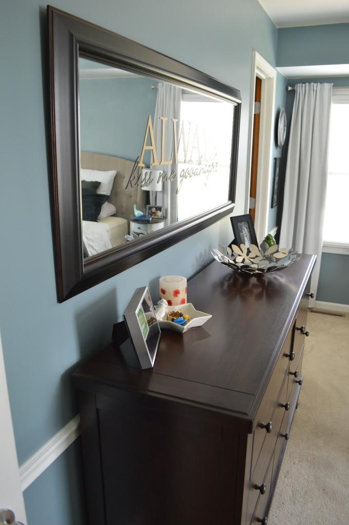 Large Mirror Over Dresser in Bedroom