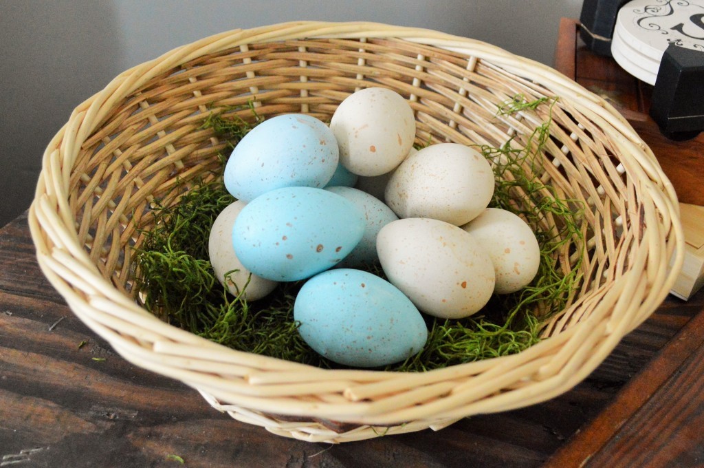 Natural dyed Easter eggs in basket