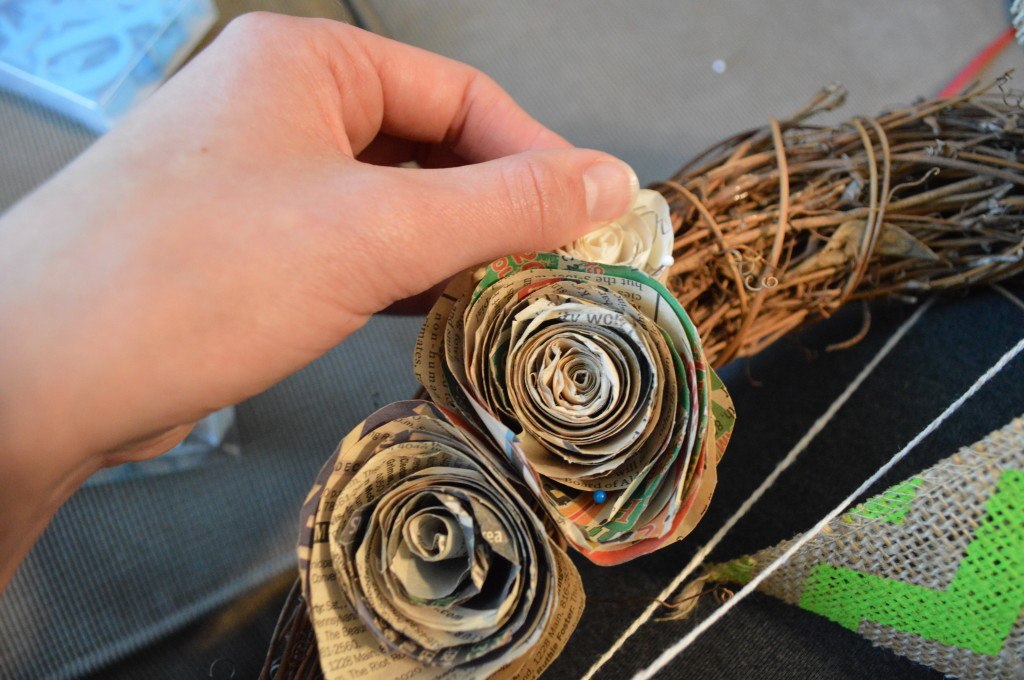 Adding Paper Flowers to DIY Spring Wreath