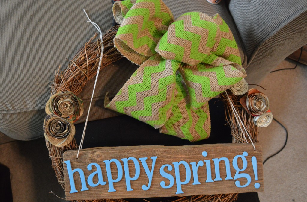 DIY Spring Wreath Attaching Wooden Sign 3