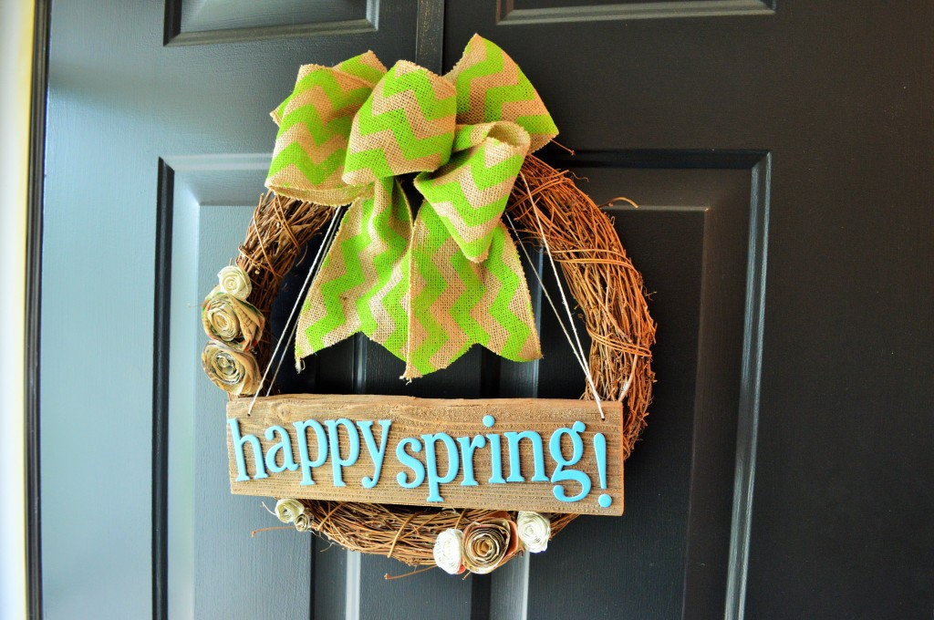 Spring Wreath On Front Door