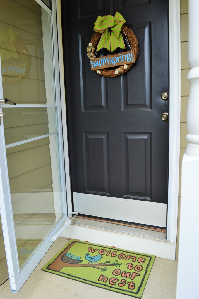 Spring Wreath on Front Door and New Welcome Mat