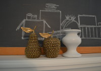 Brass apple and pear and painted candlestick holder