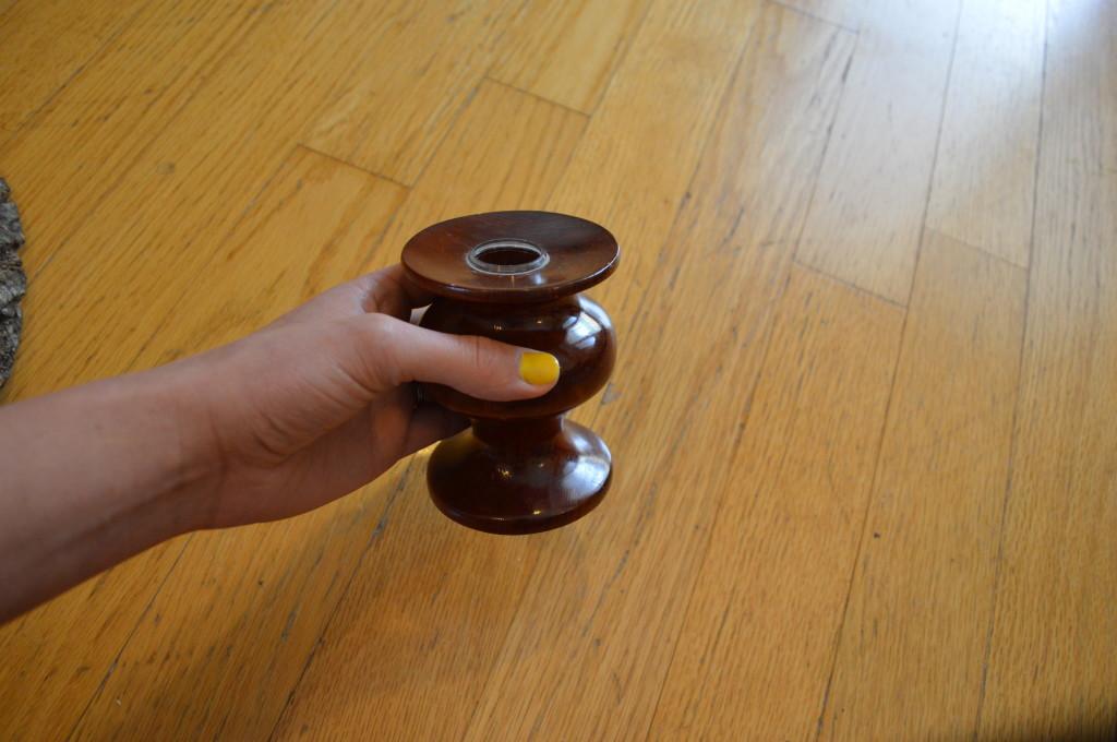 Wooden Candleholder Before