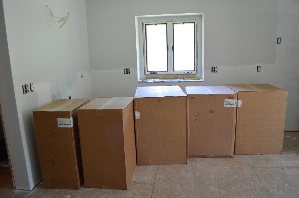 Boxes of New Kitchen Cabinets