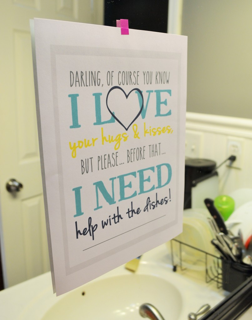 Help With Dishes Kitchen Free Printable