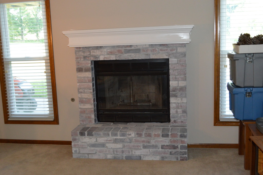 Painted Basement Mantle and Fireplace 2
