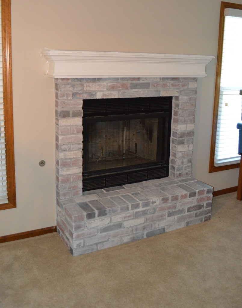 Painted Basement Mantle and Fireplace