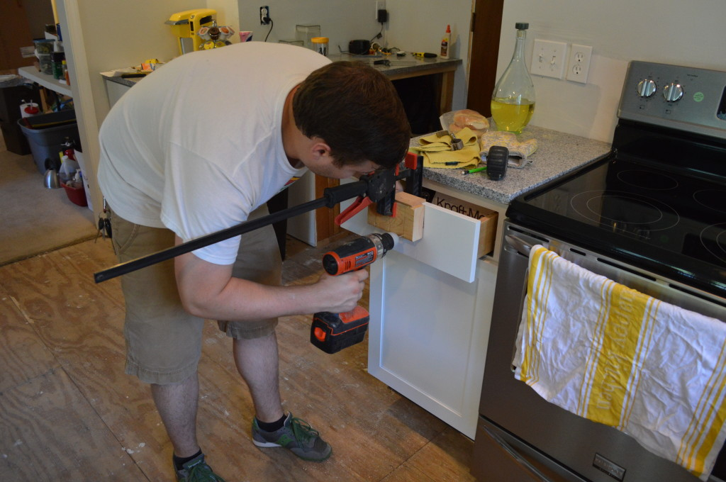 Adding Cabinet Hardware to Kitchen Cabinets 3