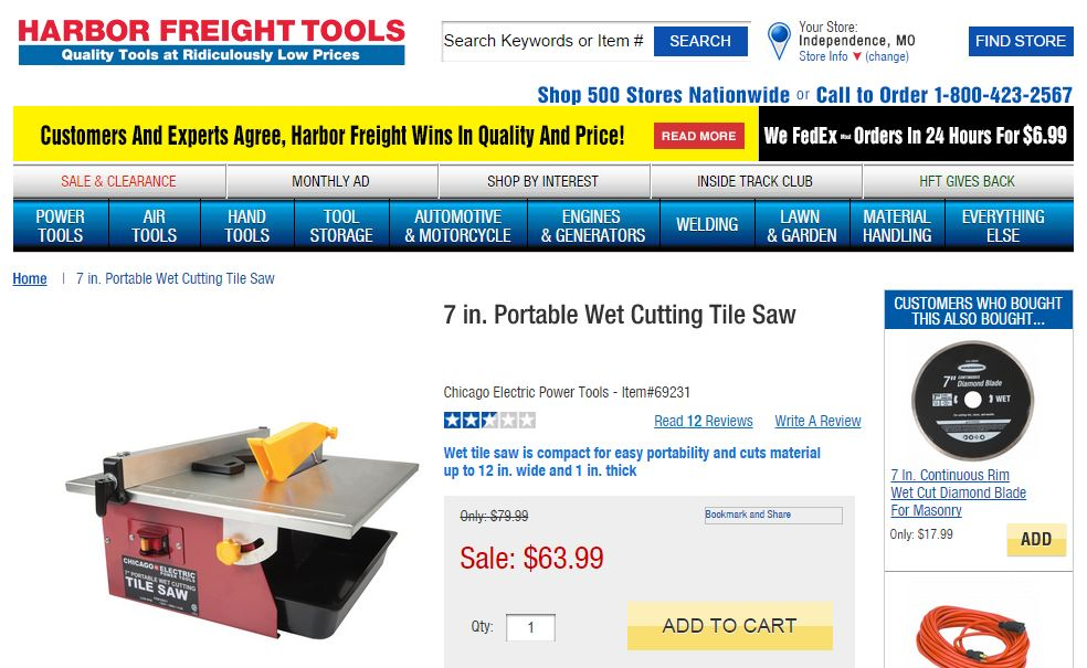 Harbor Freight saw