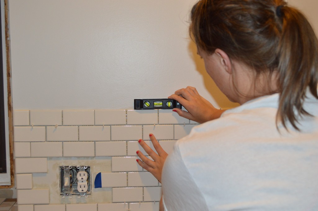 Checking to see if tile backsplash is level