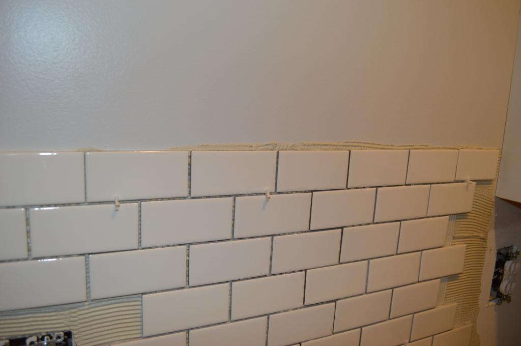 Cleaning Extra Thinset for Kitchen Backsplash Tile