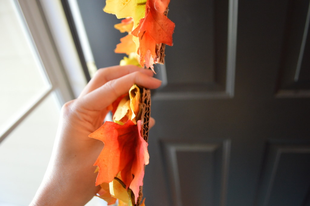 DIY leaf covered cardboard initial for fall wreath 2