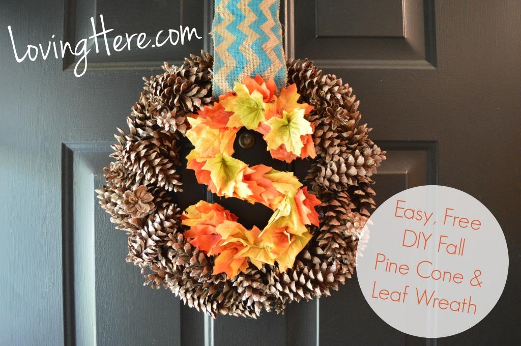 DIYfFall pine cone and leaf wreath