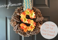 DIYfFall pine cone and leaf wreath
