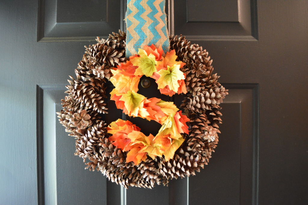 Fall pinecone and leaf wreath