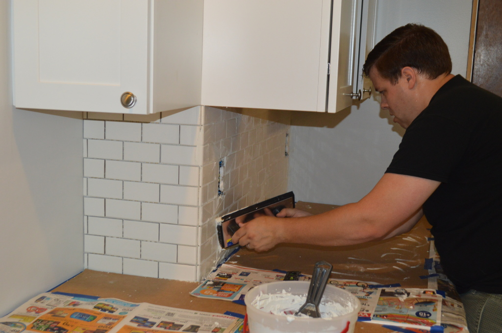 Grouting Subway Tile Backsplash 2