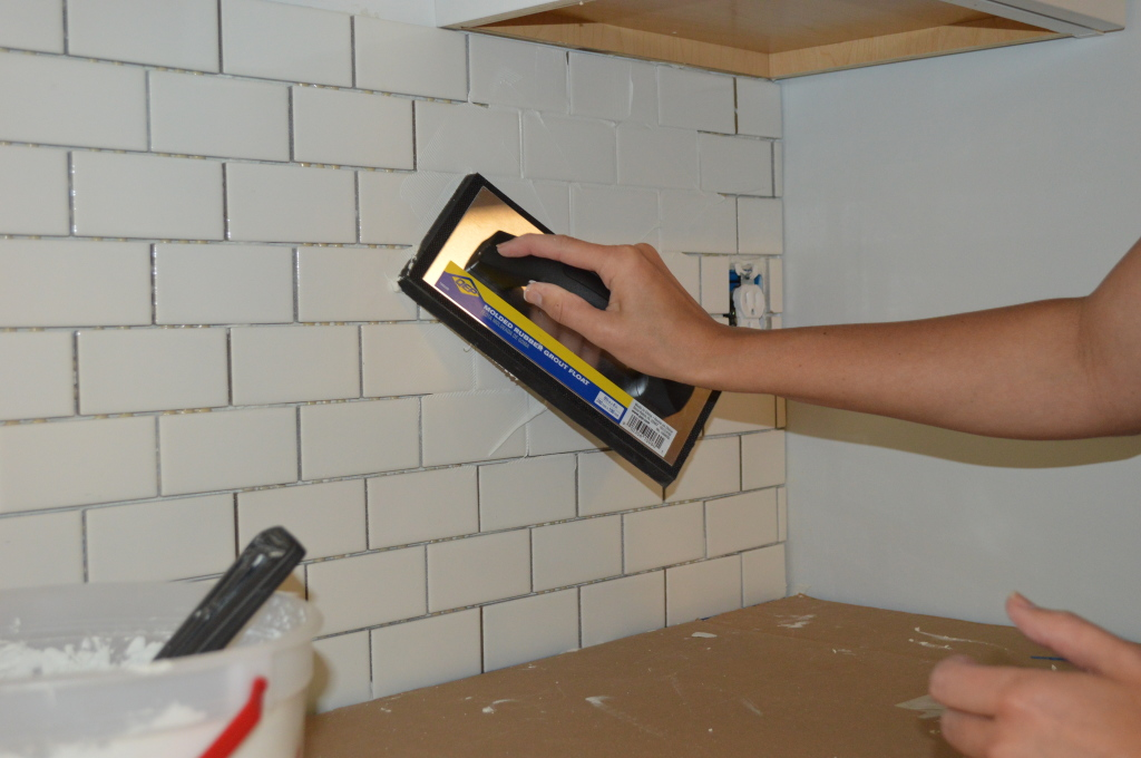 Grouting Subway Tile Backsplash 3