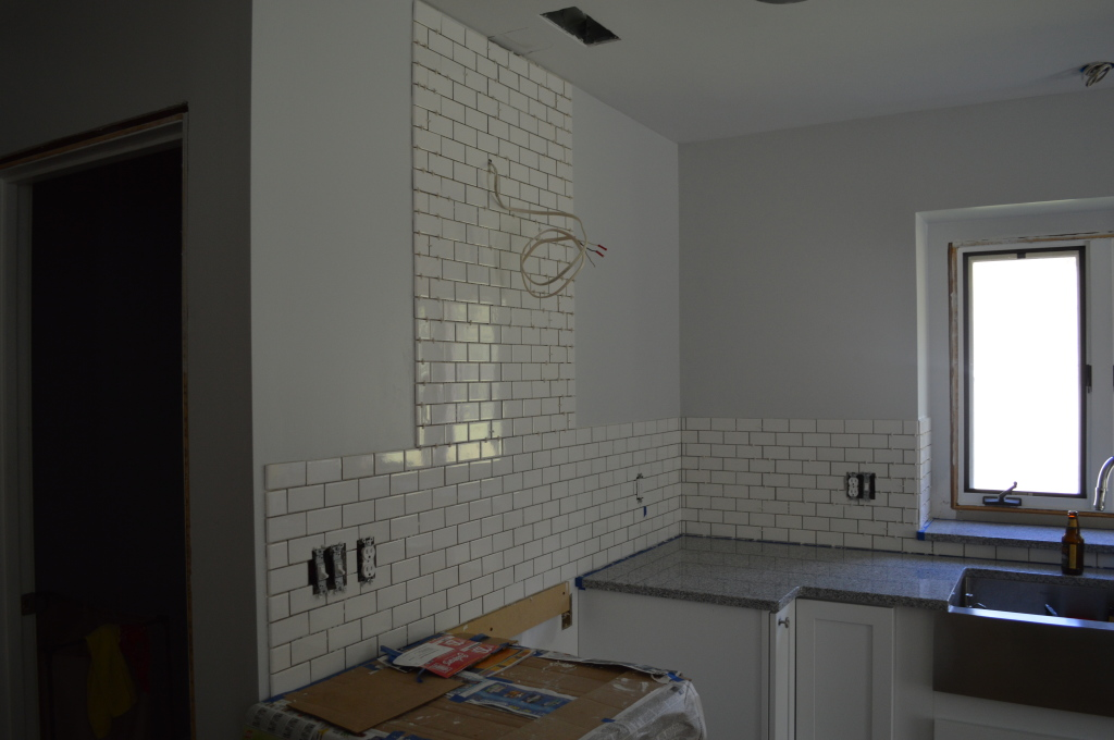 Tiled backsplash done before grout