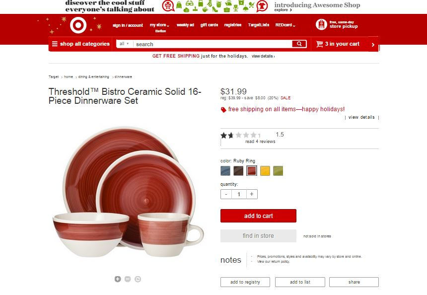 Bistro Target Dishes Red
